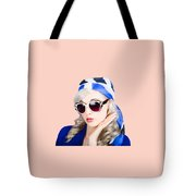 Young Beautiful Retro Girl In Glasses Tote Bag