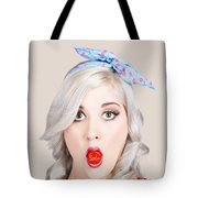Young Beautiful Woman Holding A Bottle Cap In A Mouth Tote Bag
