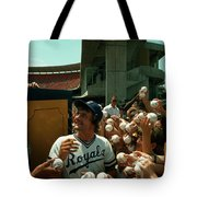 Young Fans Hold Up Baseballs For Royals Star George Brett To Sign Tote Bag