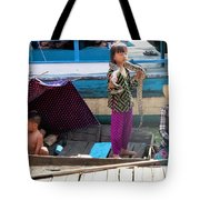 Young Girl With Snake 2, Cambodia Tote Bag