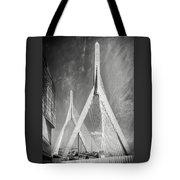 Zakim Bridge Boston Massachusetts Black And White Tote Bag