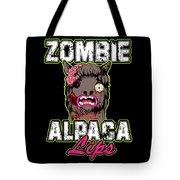 Zombie Alpaca Lips Halloween Pun Llama Alpacalypse Dark Tote Bag