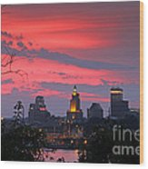 4th Of July Sunset Providence Ri Wood Print by Butch Lombardi