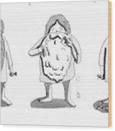 1. Man With Long Beard Holds Razor And Shaving Wood Print