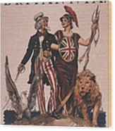 1918 1910s Usa Uncle Sam Ww1  Lions Wood Print