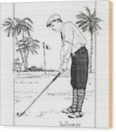 1920's Vintage Golfer Wood Print