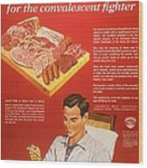 1940s Usa Convalescents Meat Eating Wood Print by The Advertising Archives
