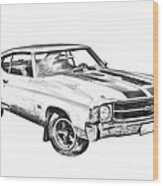 1971 Chevrolet Chevelle Ss Illustration Wood Print