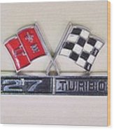 427 Turbo Jet Corvette Emblem Wood Print