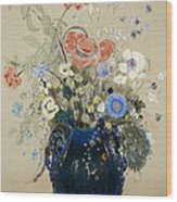 A Vase Of Blue Flowers Wood Print by Odilon Redon