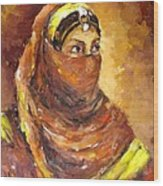 A Woman Wood Print by Negoud Dahab