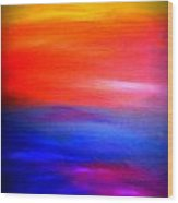 Abstract Painting Original Canvas Art  Sunset By Zee Clark Wood Print