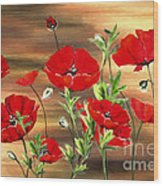 Abstract Poppies Painting On Wood Wood Print