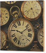 Aged Pocket Watches Wood Print