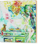 Angel Ghost Girl Cooking Again In Her Passed Life's Kitchen With Her Friend Cat Wood Print