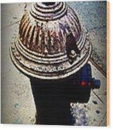 Antique Fire Hydrant - Blue Tones Wood Print