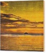 Autumn Sunset Over Ailsa Craig Wood Print
