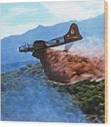 B-17 Air Tanker Dropping Fire Retardant Wood Print
