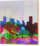 Baltimore Watercolor Skyline Wood Print