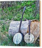 Banjos At The Woodpile Wood Print