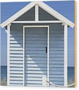 Beach Hut Wood Print