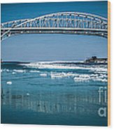 Blue Water Bridges With Reflection And Ice Flow Wood Print