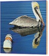 Blues Pelican Wood Print