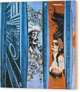 Bluesy Skateboard Art Wood Print