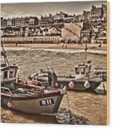 Boats At Broadstairs Wood Print
