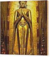 Buddha Inside Ananda Temple - Bagan - Myanmar Wood Print