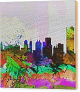Buffalo Watercolor Skyline Wood Print