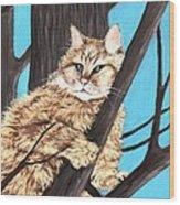 Cat On A Tree Wood Print