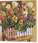 Chair Of Flowers Wood Print