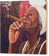 Cigar Lady Wood Print