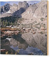 Cirque Of The Towers In Lonesome Lake   Wood Print
