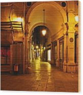 Clock Tower Venice Italy And The Path To Merceria Wood Print