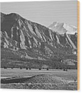 Colorado Rocky Mountains Flatirons With Snow Covered Twin Peaks Wood Print