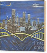 Crescent Over Pittsburgh  Wood Print