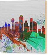 Dallas Watercolor Skyline Wood Print