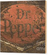 Dr Pepper Vintage Sign Wood Print