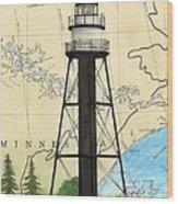 Duluth Harbor S Breakwater Inner Lighthouse Mn Nautical Chart Art Wood Print