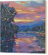 Dusk River Wood Print