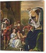 English Bulldog Art Canvas Print - The Garden Party Wood Print