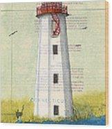 Faulkner Island Lighthouse Ct Nautical Chart Map Art Wood Print