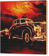 Fire  Flame  Hell  Classic Car  City Wood Print