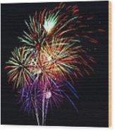 Fireworks Across The Bay Wood Print