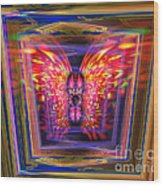 Flaming Butterfly Mixed Media Painting Wood Print