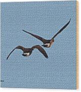 Fleeing Geese Wood Print