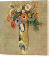 Flowers In A Painted Vase Wood Print by Odilon Redon