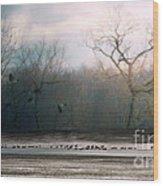 Flying Geese Surrealism Wood Print